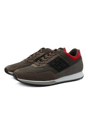 Мужские комбинированные кроссовки HOGAN хаки цвета, арт. HXM3210K790QCG | Фото 1