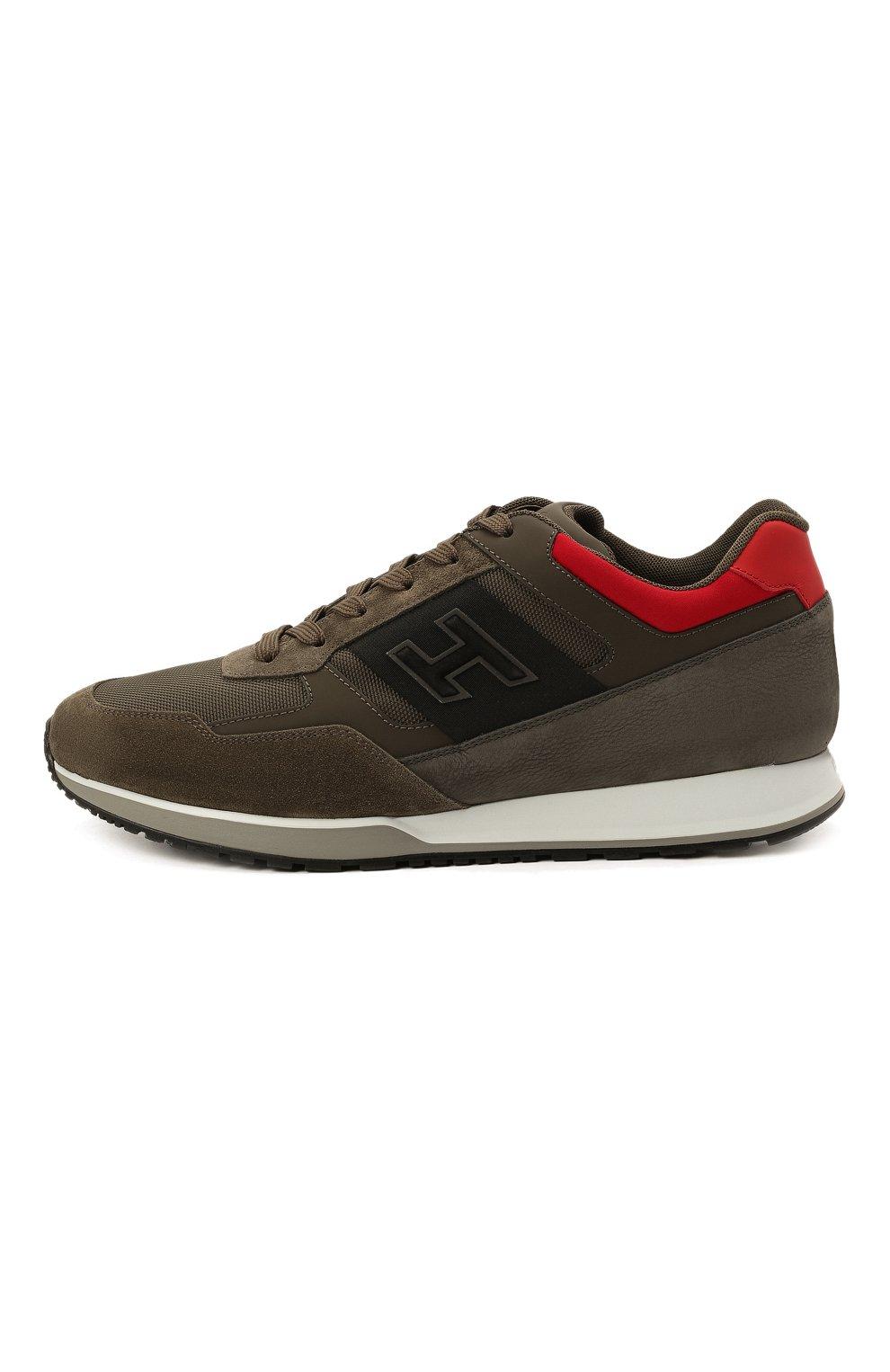 Мужские комбинированные кроссовки HOGAN хаки цвета, арт. HXM3210K790QCG   Фото 3 (Материал внешний: Текстиль; Материал внутренний: Натуральная кожа, Текстиль; Подошва: Массивная)