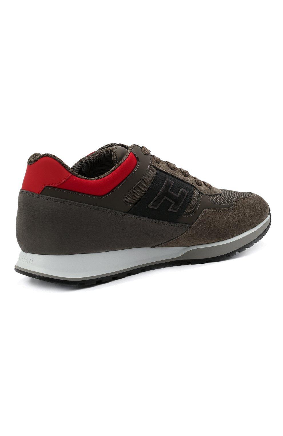 Мужские комбинированные кроссовки HOGAN хаки цвета, арт. HXM3210K790QCG   Фото 4 (Материал внешний: Текстиль; Материал внутренний: Натуральная кожа, Текстиль; Подошва: Массивная)