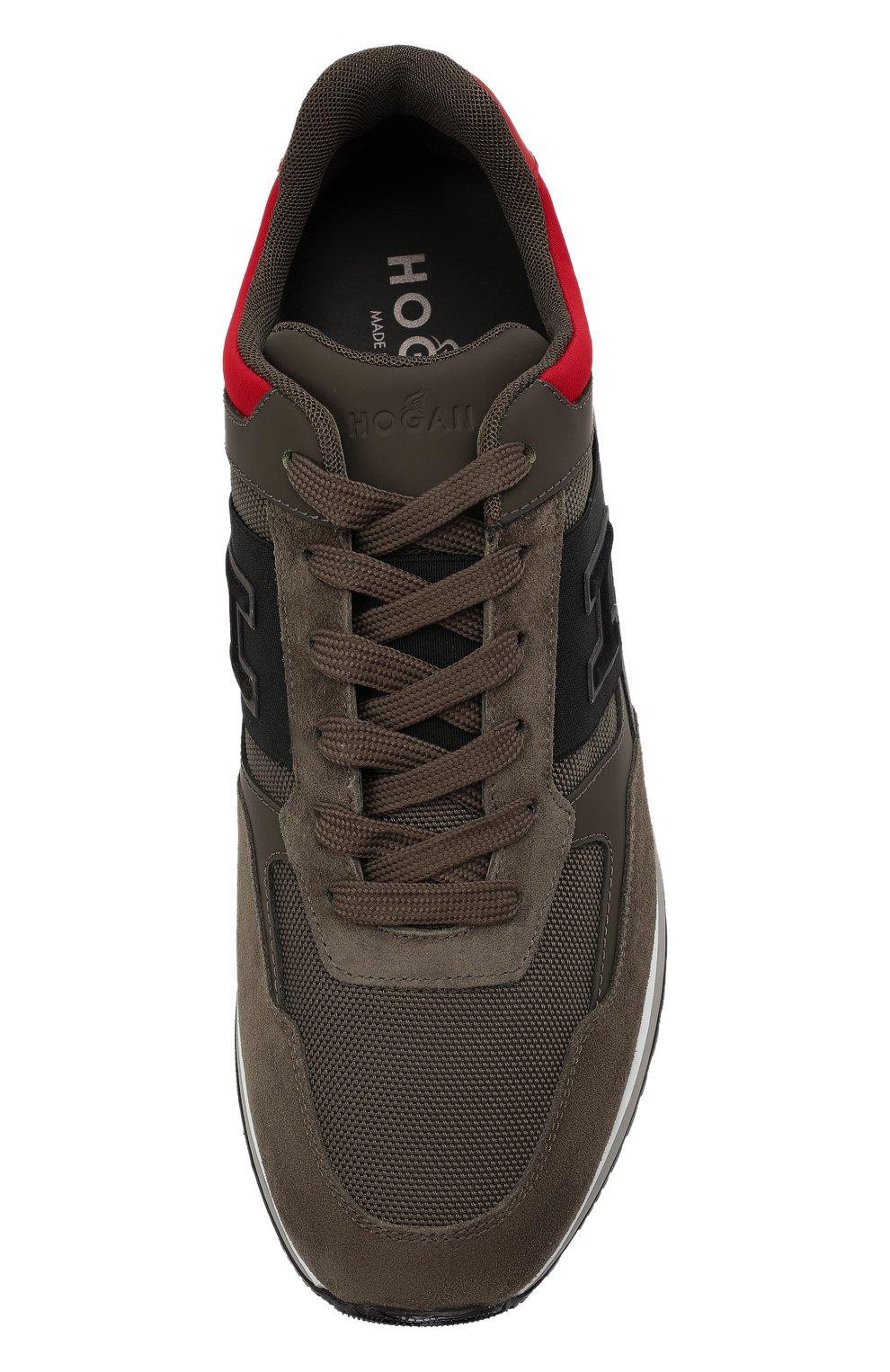 Мужские комбинированные кроссовки HOGAN хаки цвета, арт. HXM3210K790QCG   Фото 5 (Материал внешний: Текстиль; Материал внутренний: Натуральная кожа, Текстиль; Подошва: Массивная)