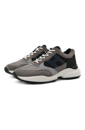 Мужские комбинированные кроссовки HOGAN серого цвета, арт. HXM5450DN91QE7 | Фото 1