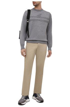 Мужские комбинированные кроссовки HOGAN серого цвета, арт. HXM5450DN91QE7 | Фото 2