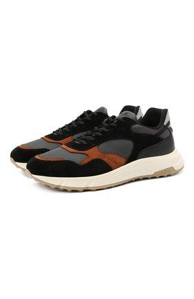Мужские комбинированные кроссовки HOGAN черного цвета, арт. HXM5630DM90QDF | Фото 1