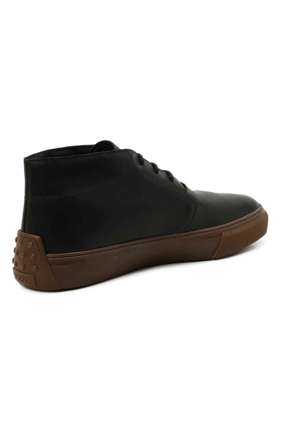 Мужские кожаные ботинки TOD'S черного цвета, арт. XXM03E0EA50JUS | Фото 4 (Мужское Кросс-КТ: Ботинки-обувь, Дезерты-обувь; Материал внутренний: Натуральная кожа; Подошва: Массивная)