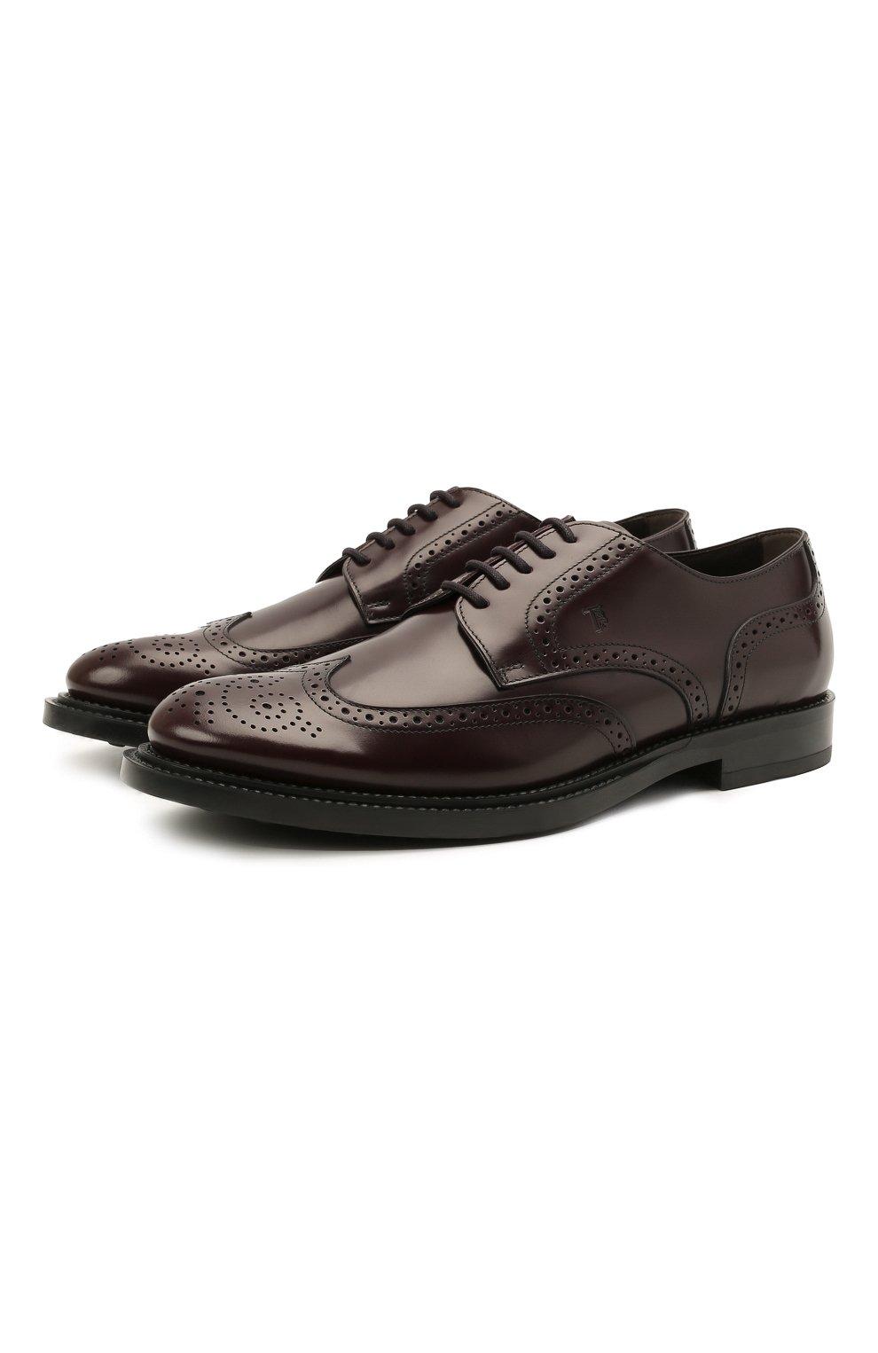 Мужские кожаные дерби TOD'S бордового цвета, арт. XXM62C00C10LYG   Фото 1 (Мужское Кросс-КТ: Броги-обувь; Материал внутренний: Натуральная кожа; Стили: Классический)
