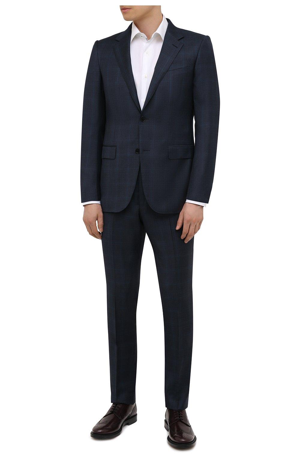 Мужские кожаные дерби TOD'S бордового цвета, арт. XXM62C00C10LYG   Фото 2 (Мужское Кросс-КТ: Броги-обувь; Материал внутренний: Натуральная кожа; Стили: Классический)