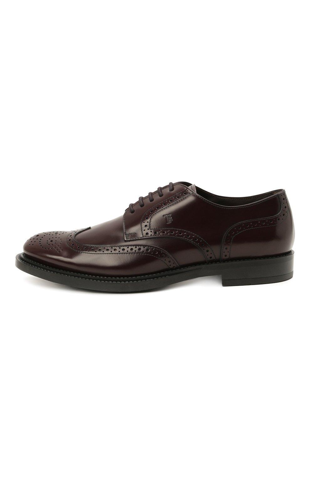 Мужские кожаные дерби TOD'S бордового цвета, арт. XXM62C00C10LYG   Фото 3 (Мужское Кросс-КТ: Броги-обувь; Материал внутренний: Натуральная кожа; Стили: Классический)