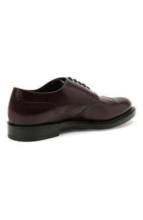 Мужские кожаные дерби TOD'S бордового цвета, арт. XXM62C00C10LYG   Фото 4 (Мужское Кросс-КТ: Броги-обувь; Материал внутренний: Натуральная кожа; Стили: Классический)