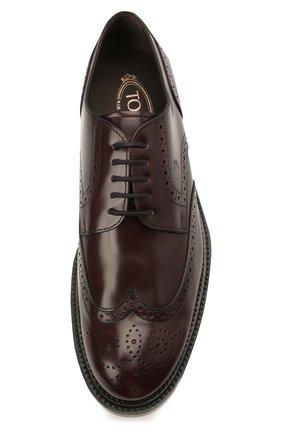 Мужские кожаные дерби TOD'S бордового цвета, арт. XXM62C00C10LYG   Фото 5 (Мужское Кросс-КТ: Броги-обувь; Материал внутренний: Натуральная кожа; Стили: Классический)