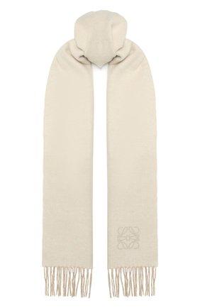 Женский шарф из шерсти и кашемира LOEWE белого цвета, арт. F810250X01 | Фото 1 (Материал: Шерсть; Кросс-КТ: шерсть)