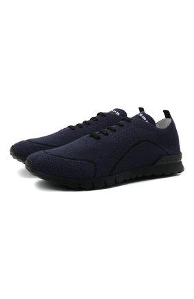 Мужские текстильные кроссовки KITON синего цвета, арт. USSFITBN00823 | Фото 1 (Материал внутренний: Натуральная кожа; Подошва: Массивная; Материал внешний: Текстиль; Стили: Спорт)