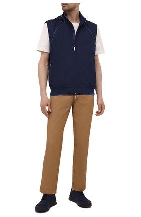 Мужские текстильные кроссовки KITON синего цвета, арт. USSFITBN00823 | Фото 2 (Материал внутренний: Натуральная кожа; Подошва: Массивная; Материал внешний: Текстиль; Стили: Спорт)