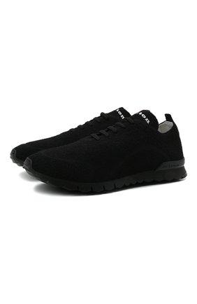 Мужские текстильные кроссовки KITON черного цвета, арт. USSFITBN00823 | Фото 1 (Материал внутренний: Натуральная кожа; Подошва: Массивная; Материал внешний: Текстиль; Стили: Спорт)