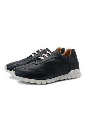 Мужские кожаные кроссовки KITON темно-синего цвета, арт. USSGASWN00100 | Фото 1 (Подошва: Массивная; Материал внутренний: Натуральная кожа; Стили: Классический)