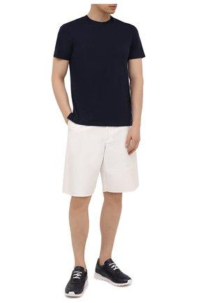 Мужские кожаные кроссовки KITON темно-синего цвета, арт. USSGASWN00100 | Фото 2 (Подошва: Массивная; Материал внутренний: Натуральная кожа; Стили: Классический)