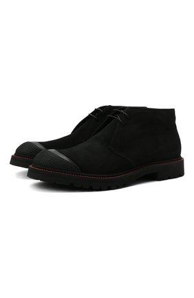 Мужские замшевые ботинки KITON черного цвета, арт. USSPETEN00689 | Фото 1 (Материал внутренний: Натуральная кожа; Подошва: Плоская; Мужское Кросс-КТ: зимние ботинки, Дезерты-обувь, Ботинки-обувь; Материал внешний: Замша; Материал утеплителя: Натуральный мех)