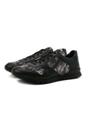 Мужские комбинированные кроссовки KITON черного цвета, арт. USSVLAZN00696 | Фото 1 (Подошва: Массивная; Материал внутренний: Натуральная кожа)