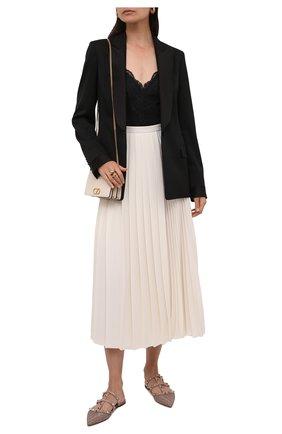 Женские кожаные сабо rockstud VALENTINO бежевого цвета, арт. VW0S0H15/JNM | Фото 2 (Материал внутренний: Натуральная кожа; Каблук высота: Низкий; Подошва: Плоская)
