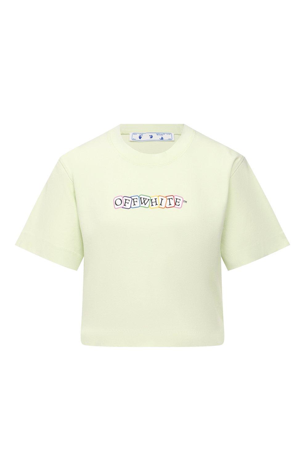 Женская хлопковая футболка OFF-WHITE светло-зеленого цвета, арт. 0WAA090S21JER003   Фото 1