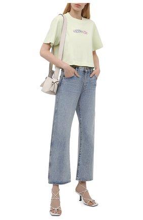 Женская хлопковая футболка OFF-WHITE светло-зеленого цвета, арт. 0WAA090S21JER003   Фото 2