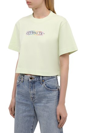 Женская хлопковая футболка OFF-WHITE светло-зеленого цвета, арт. 0WAA090S21JER003   Фото 3