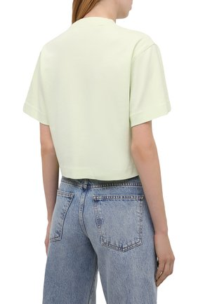 Женская хлопковая футболка OFF-WHITE светло-зеленого цвета, арт. 0WAA090S21JER003   Фото 4