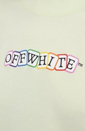 Женская хлопковая футболка OFF-WHITE светло-зеленого цвета, арт. 0WAA090S21JER003   Фото 5