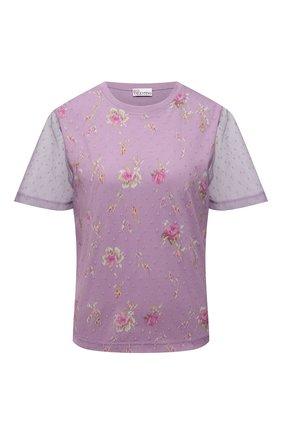 Женская футболка REDVALENTINO сиреневого цвета, арт. WR3MG11S/623 | Фото 1 (Длина (для топов): Стандартные; Рукава: Короткие; Материал подклада: Хлопок; Материал внешний: Синтетический материал; Стили: Романтичный)