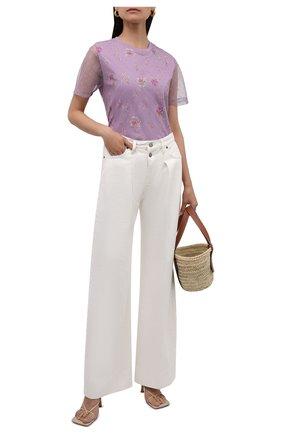 Женская футболка REDVALENTINO сиреневого цвета, арт. WR3MG11S/623 | Фото 2 (Длина (для топов): Стандартные; Рукава: Короткие; Материал подклада: Хлопок; Материал внешний: Синтетический материал; Стили: Романтичный)
