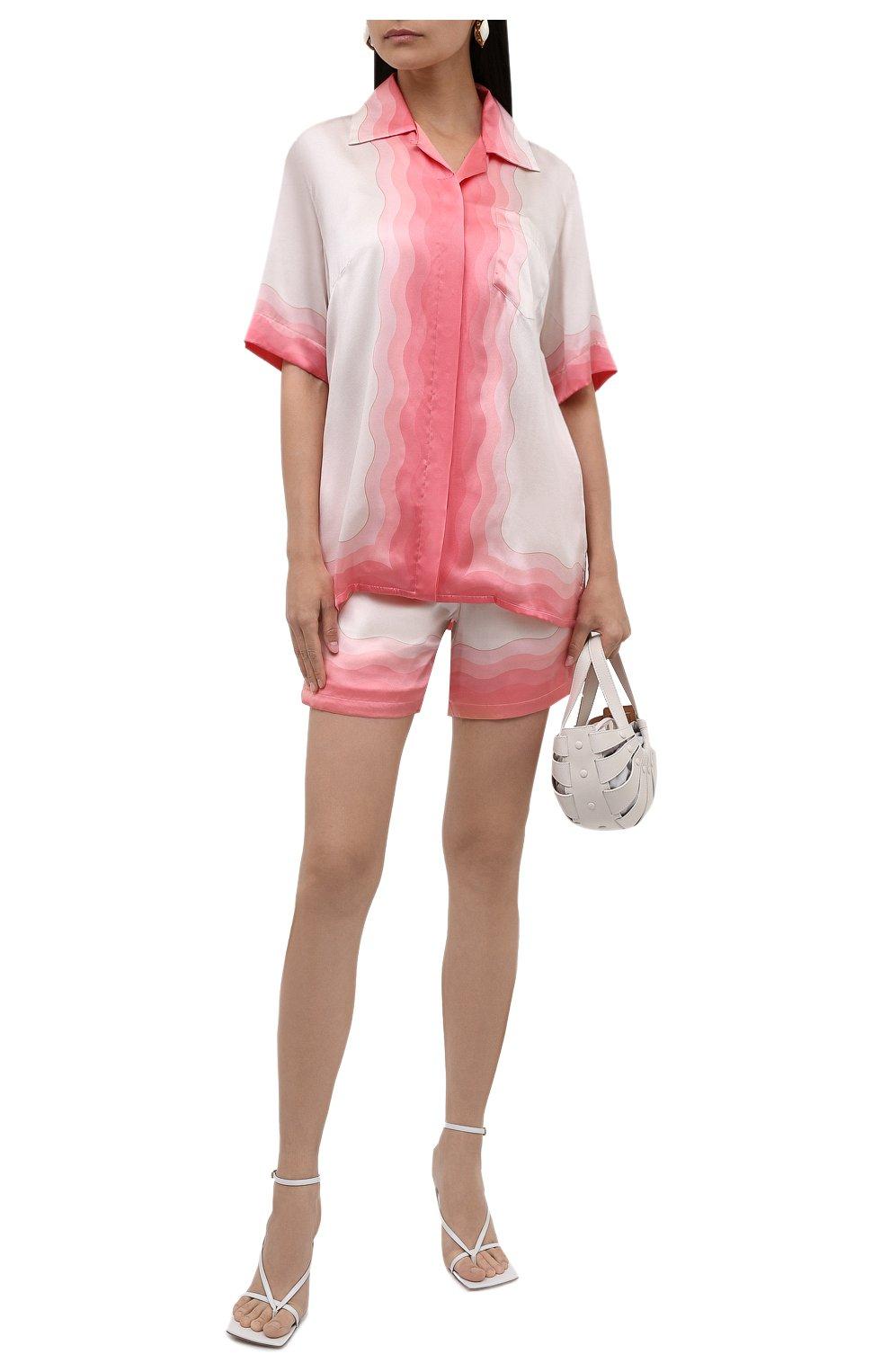 Женская шелковая рубашка CASABLANCA розового цвета, арт. WS21-SH-015 KAPALIA   Фото 2
