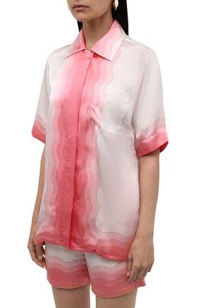 Женская шелковая рубашка CASABLANCA розового цвета, арт. WS21-SH-015 KAPALIA   Фото 3