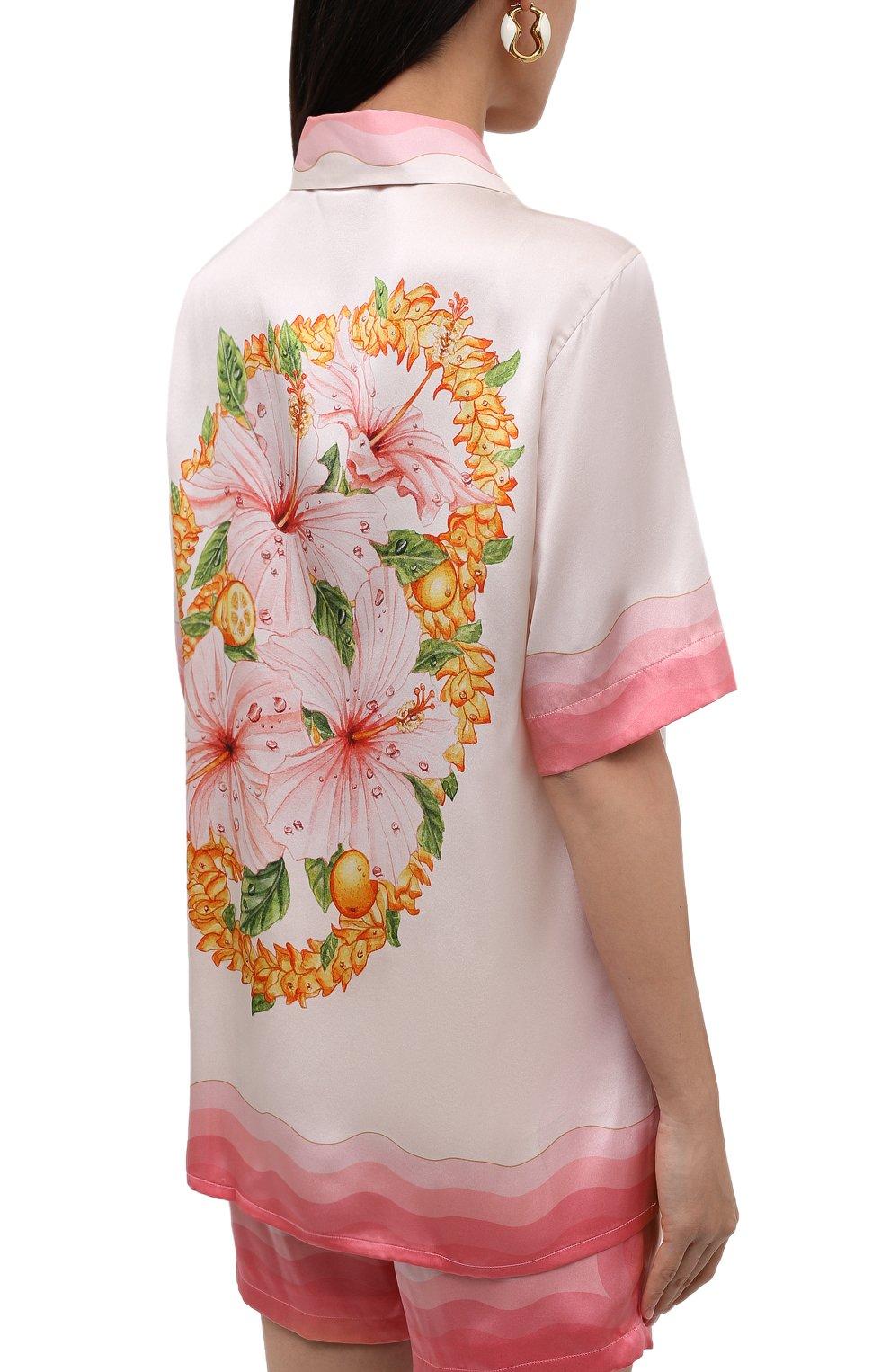 Женская шелковая рубашка CASABLANCA розового цвета, арт. WS21-SH-015 KAPALIA   Фото 4