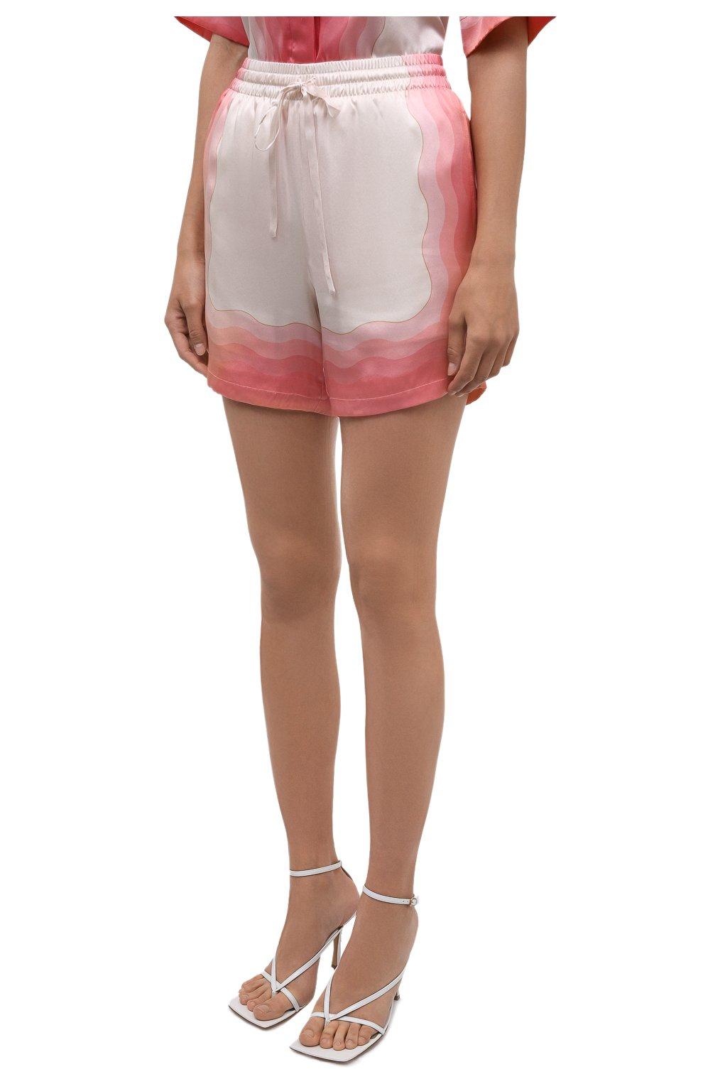 Женские шелковые шорты CASABLANCA розового цвета, арт. WS21-TR-035 KAPALIA | Фото 3 (Женское Кросс-КТ: Шорты-одежда; Материал внешний: Шелк; Длина Ж (юбки, платья, шорты): Мини; Материал подклада: Синтетический материал; Стили: Романтичный)
