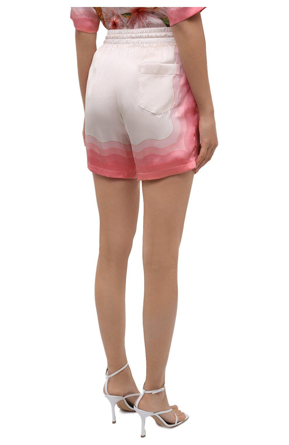 Женские шелковые шорты CASABLANCA розового цвета, арт. WS21-TR-035 KAPALIA | Фото 4 (Женское Кросс-КТ: Шорты-одежда; Материал внешний: Шелк; Длина Ж (юбки, платья, шорты): Мини; Материал подклада: Синтетический материал; Стили: Романтичный)
