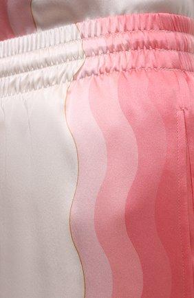 Женские шелковые шорты CASABLANCA розового цвета, арт. WS21-TR-035 KAPALIA | Фото 5 (Женское Кросс-КТ: Шорты-одежда; Материал внешний: Шелк; Длина Ж (юбки, платья, шорты): Мини; Материал подклада: Синтетический материал; Стили: Романтичный)
