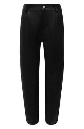 Женские кожаные брюки REDVALENTINO черного цвета, арт. WR3NF00M/639 | Фото 1 (Силуэт Ж (брюки и джинсы): Прямые; Женское Кросс-КТ: Кожаные брюки, Брюки-одежда; Стили: Гранж; Длина (брюки, джинсы): Укороченные)