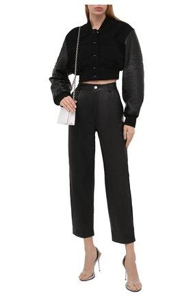 Женские кожаные брюки REDVALENTINO черного цвета, арт. WR3NF00M/639 | Фото 2 (Силуэт Ж (брюки и джинсы): Прямые; Женское Кросс-КТ: Кожаные брюки, Брюки-одежда; Стили: Гранж; Длина (брюки, джинсы): Укороченные)