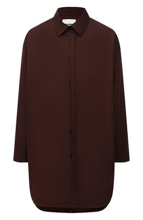 Женская хлопковая рубашка JIL SANDER темно-коричневого цвета, арт. JSCT603105-WT244200 | Фото 1 (Рукава: Длинные; Материал внешний: Хлопок; Женское Кросс-КТ: Рубашка-одежда; Принт: Без принта; Стили: Кэжуэл)