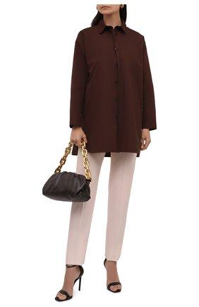 Женская хлопковая рубашка JIL SANDER темно-коричневого цвета, арт. JSCT603105-WT244200 | Фото 2 (Рукава: Длинные; Материал внешний: Хлопок; Женское Кросс-КТ: Рубашка-одежда; Принт: Без принта; Стили: Кэжуэл)