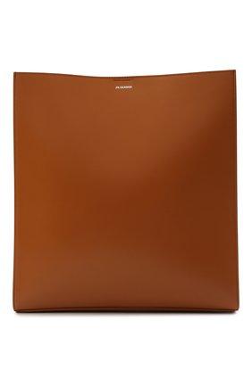 Женская сумка tangle large JIL SANDER коричневого цвета, арт. JSPT853420-WTB69159N | Фото 1 (Размер: large; Материал: Натуральная кожа; Сумки-технические: Сумки через плечо)