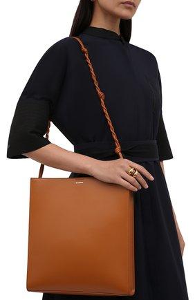 Женская сумка tangle large JIL SANDER коричневого цвета, арт. JSPT853420-WTB69159N | Фото 2 (Размер: large; Материал: Натуральная кожа; Сумки-технические: Сумки через плечо)