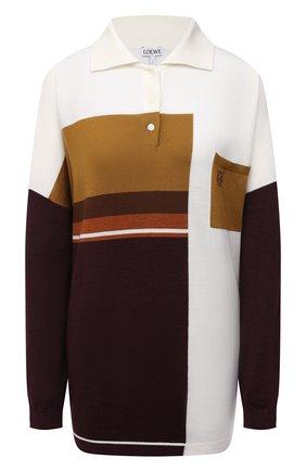 Женский шерстяной пуловер LOEWE бежевого цвета, арт. S359Y14K36 | Фото 1 (Рукава: Длинные; Материал внешний: Шерсть; Стили: Кэжуэл; Длина (для топов): Удлиненные)
