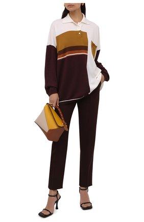 Женский шерстяной пуловер LOEWE бежевого цвета, арт. S359Y14K36 | Фото 2 (Рукава: Длинные; Материал внешний: Шерсть; Стили: Кэжуэл; Длина (для топов): Удлиненные)