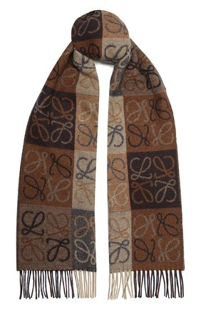 Женский шерстяной шарф LOEWE коричневого цвета, арт. F810487X17 | Фото 1