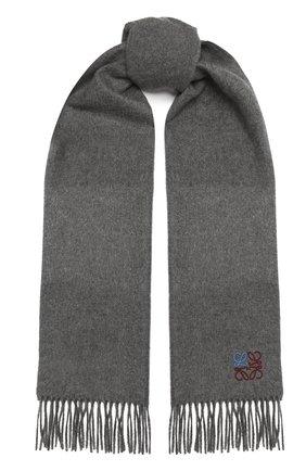 Женский кашемировый шарф LOEWE серого цвета, арт. F000914X04 | Фото 1 (Материал: Шерсть, Кашемир)