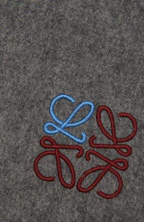 Женский кашемировый шарф LOEWE серого цвета, арт. F000914X04 | Фото 2 (Материал: Шерсть, Кашемир)