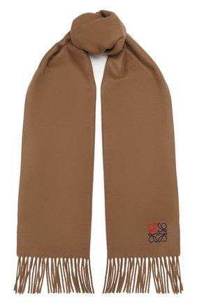Женский кашемировый шарф LOEWE темно-бежевого цвета, арт. F000914X04 | Фото 1