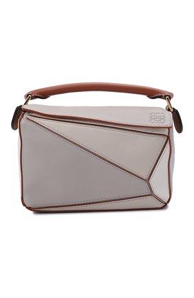 Женская сумка puzzle mini LOEWE бежевого цвета, арт. A510U95X42 | Фото 1 (Материал: Натуральная кожа; Сумки-технические: Сумки top-handle, Сумки через плечо; Ремень/цепочка: На ремешке; Размер: mini)