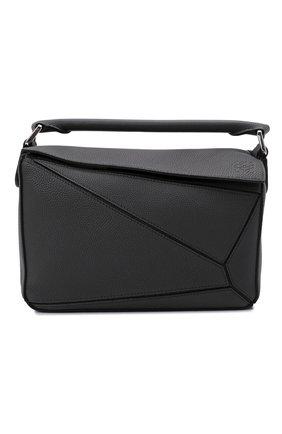 Женская сумка puzzle small LOEWE темно-серого цвета, арт. A510S21X67 | Фото 1 (Материал: Натуральная кожа; Сумки-технические: Сумки top-handle, Сумки через плечо; Ремень/цепочка: На ремешке; Размер: small)