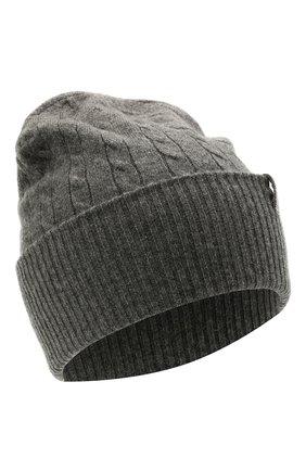 Женская кашемировая шапка BRUNELLO CUCINELLI серого цвета, арт. M12182889   Фото 1 (Материал: Шерсть, Кашемир)
